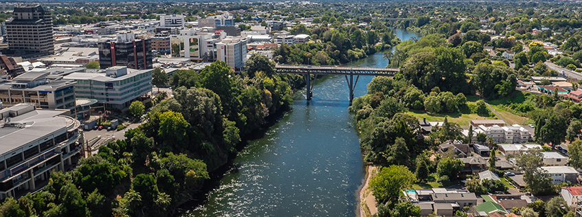 Hamilton's Central City and Hamilton East separated by the Waikato River