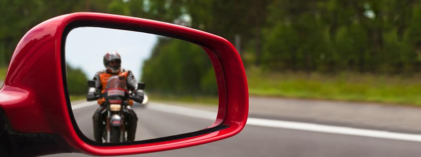 Motorcyclist in mirror