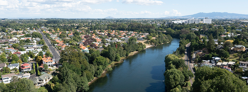Aerial view of Hamilton and Waikato River
