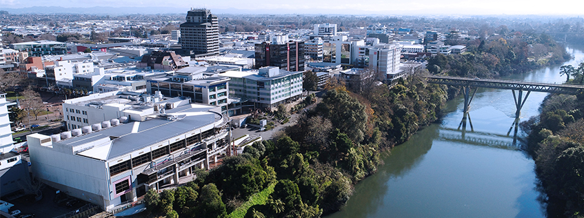 An aerial view of the central city and Waikato River