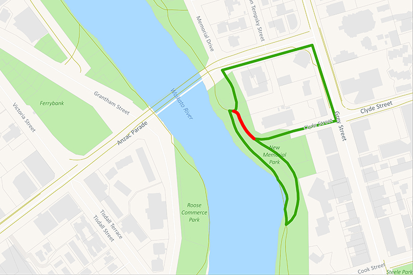 Upper river path closure near Clyde St | Detour via Lower path or Grey St