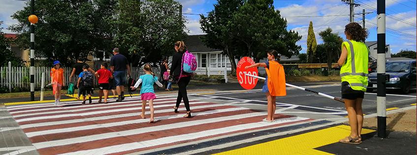 Children crossing Knighton Rd