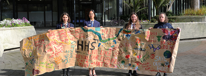 Pictured (left to right): Timi Barabas (Rototuna High School), Monica Lim (Hillcrest High School), Aimee Hudson (Hamilton Girls' High School), and Hannah Huggan (Hilcrest High School) who all spoke passionately in Public Forum