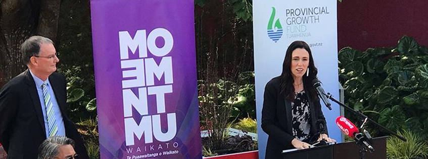 Prime Minister Jacinda Ardern making the announcement at Embassy Park