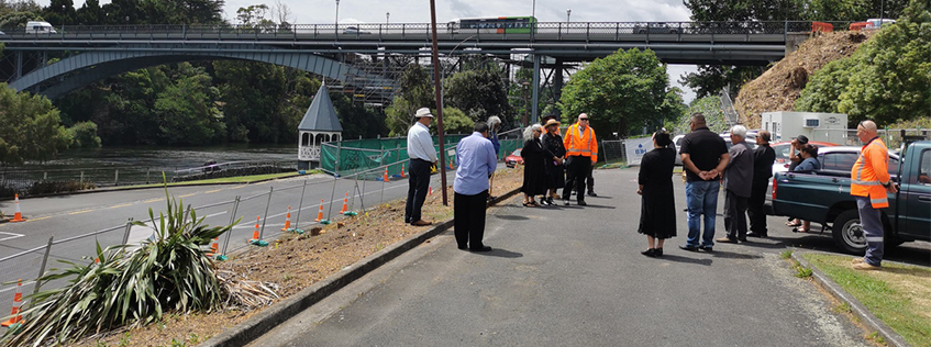 Te Haa o te Whenua o Kirikiriroa and Hamilton City Council staff at the site blessing of the planned Hillsborough Pump Station
