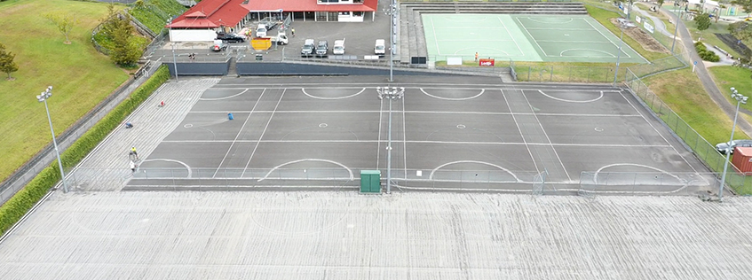 Minogue Park Netball Courts being resurfaced