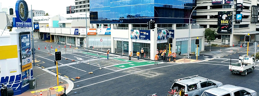 The Anglesea St, Bryce St intersection being inspected shortly before opening