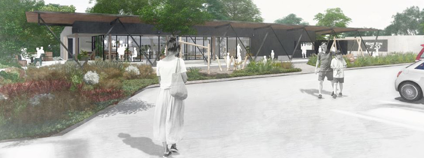 An artist's impression of the new entry building at the Hamilton Zoo and Waiwhakareke shared entrance precinct. Hamilton City Council decided to combine the project with an upgrade of Brymer Road.