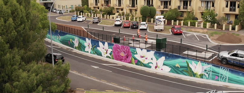 Image of the Hillsborough Pump Station Mural, Teena Koorua