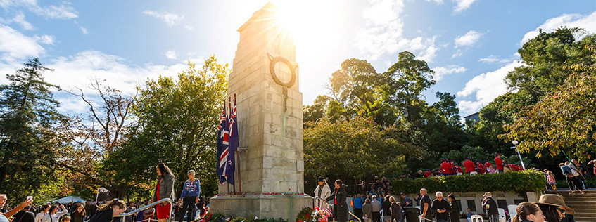 Image of the Cenotaph on Anzac Day