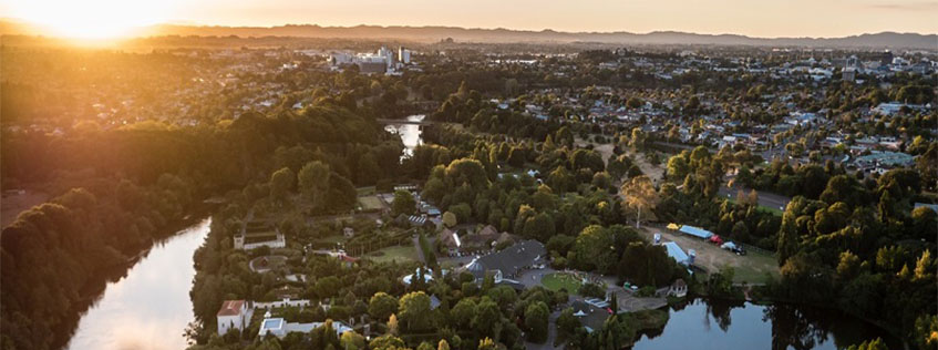 Aerial image of the Hamilton Gardens, overlooking the city
