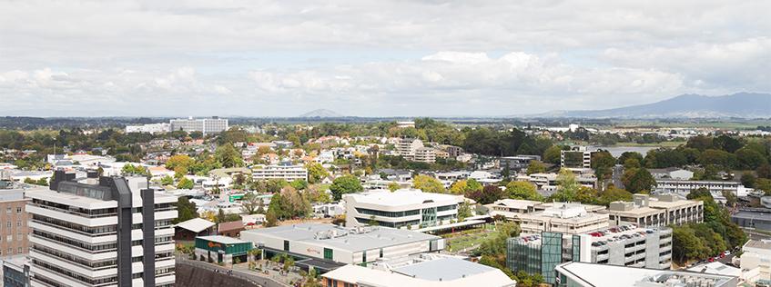Aerial image of the Hamilton CBD from Wintec