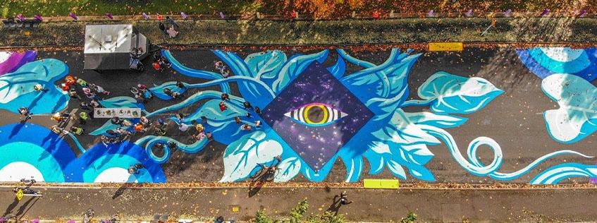 Street art by Pauly B on Rostrevor Street