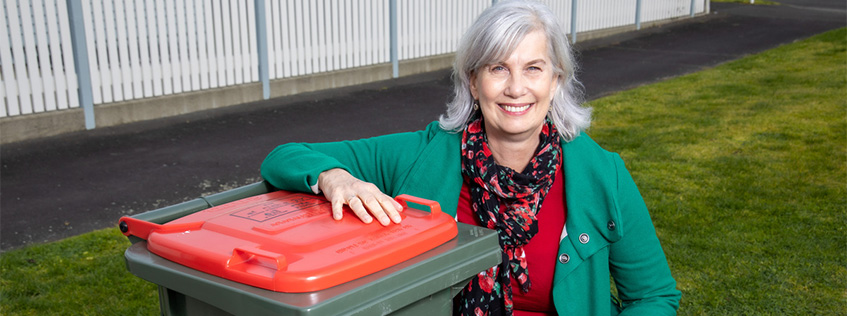 Mayor Paula Southgate on the launch day of Hamilton City Council's new Rubbish and Recycling service