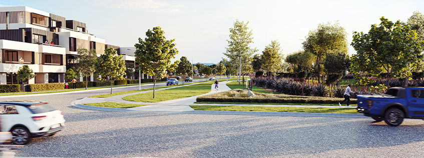 An artist impression of a future Peacocke street, balancing the natural environment with higher density housing.