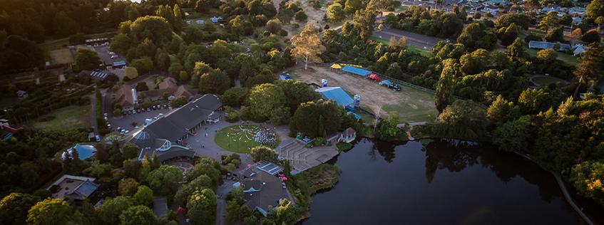 Aerial image of the Hamilton Gardens