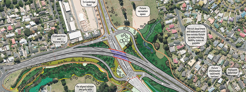 Map of Ring Road intersection Wairere Dr/Cobham Dr
